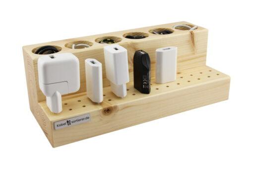 Organizer für Kabel und Stecker - aus Fichtenholz mit Filzschutz